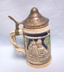 "BEER MUG: Vintage German Style Beer Mug Stein with Lid 7"" Tall"
