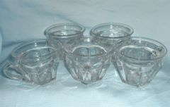 GLASS CUPS Set of 5 Clear Glass Cups, Punch Bowl Cups Panel Design Tapered