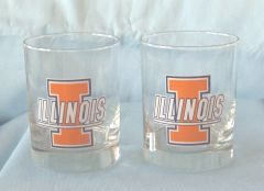 "GLASSES: Pair New Executive Illinois College Glasses 4"" Tall Heavy Dury Glass Holds 14oz Go ILLINI!!"