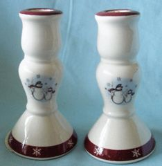 CANDLE HOLDERS - Pair Snowman Christmas Candlestick Holders RN-1 ROYAL SEASONS