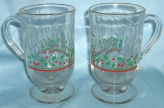 CUPS Pair ARBY'S Glass Handled Cups, Mugs, HOLIDAY HOLLY