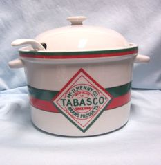 TABASCO CROCK POT: McIlhenny Co. Pottery Crock Bean Pot, Soup Pot Tureen with Lid & Ladle
