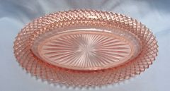 CELERY DISH: Pink Depression Glass Celery Dish Miss America by Anchor Hocking