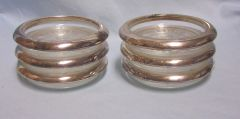 GLASS COASTERS: Set of (6) Glass Coaster with Silver Plate Rings from Italy