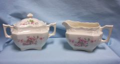 SUGAR AND CREAMER SET: Vintage Ivory Color Sugar Bowl w/Lid & Creamer Floral Design
