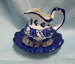 Wash basin and pitcher - Miniature Ceramic Pitcher and Wash basin White with Blue Designs