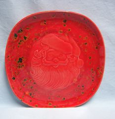 "PLATE: Unique Christmas Plate Holland Mold with Embossed Santa Face in Center 8 1/4"" Diameter"