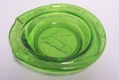 ASH TRAY: Green Depression Ashtray GOOD LUCK Vintage Horeshoe Shape Ashtray