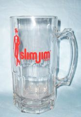BEER MUG: Large Heavy Glass Beer Mug Slimjim Slim Jim with Thumb rest 8""