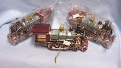 CHRISTMAS ORNAMENTS: (3) Vintage Style Glass Multi-color Train Ornaments Hand-painted Silver Trim