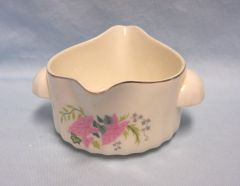 "SAUCE BOWL: Vintage Double Handle Double Spout Sauce Bowl, Gravy Bowl 3"" Tall Gold Trim"