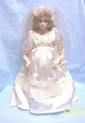 "COLLECTIBLE DOLLS: Gorgeous 15"" Collectible Porcelain Bride Doll in Ivory Wedding Dress"