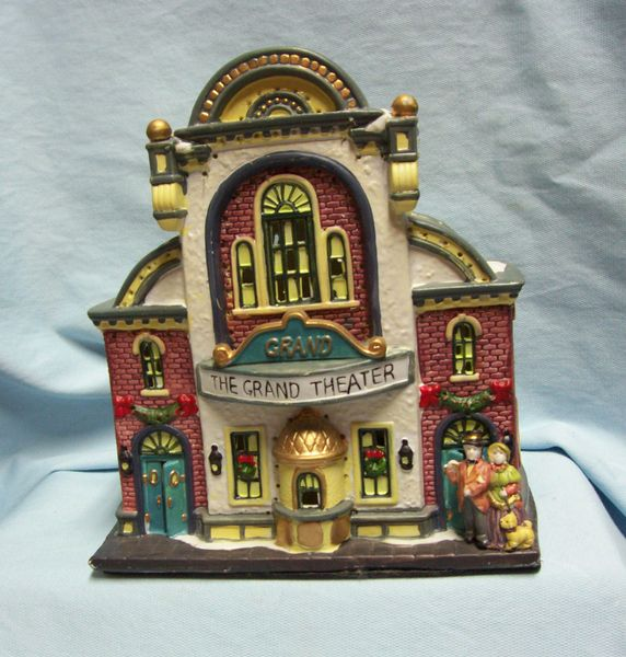 christmas village buliding fiber optic the grand theater ceramic by hofters