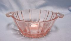 BOWL: Pink Depression Glass Handled Bowl by Anchor Hocking - Old Cafe