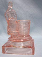 TOOTHPICK HOLDER: Vintage Indian Girl Figural Pink Glass Toothpick Holder/Match Holder