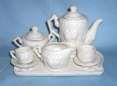 TEASET Decorated Ivory White Bisque Wedding Miniature Tea set