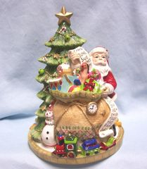 "CHRISTMAS DECORATION: 8 1/4"" Musical Christmas Tree by Fitz & Floyd - We Wish you a Merry Christmas"