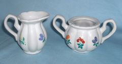 SUGAR BOWL AND CREAMER SET - Child's Size with Fruit Design