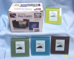 COLLECTIBLE COASTERS: Unique Set of (4) Glass Photo Coasters with Storage Rack
