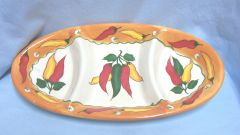 APPETIZER DISH: Red/Yellow Peppers 3 Section Appetizer Serving Dish Orange Trim