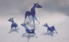 MINIATURES: Set (4) Miniature Vintage Blue Glass Deer Collectible Figurines