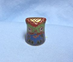 "Thimbles: Unique Colorful Cloisonne Metal Owl Shape Thimble 1 1/8"" tall"