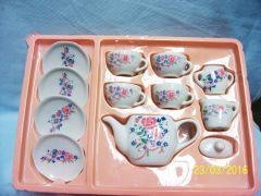 MINIATURE TEASET: 12 Piece Tea Set Miniature Teaset with PInk Roses by Yuri Craft China