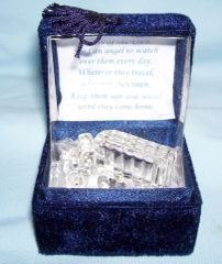 MINIATURE SEMI TRUCK FIGURINE: Handcrafted 22Kt Gold Trim Semi Truck in Lovinbox Velvet Gift Box