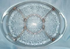 SERVING PLATTER RELISH TRAY - Vintage Glass Serving Platter Jeannette Feathers