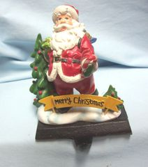STOCKING HOLDER: Vintage Santa Stocking Hanger with Merry Christmas Sign