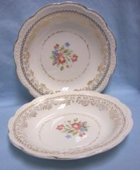 SOUP BOWLS: Pair Vintage American Beauty Soup Bowls 22K Gold Laurel by Stetson Circa - 1950