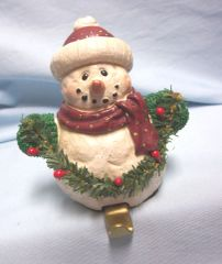 "STOCKING HOLDER: Vintage Stocking Hanger, Holder Christmas Snowman Holding Garland 5"" Tall"