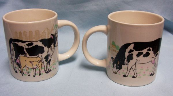 pair cute ceramic cow cups mugs mom with calf and dad cows gifts