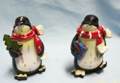 "FIGURINES: Pair Collectible Decorative Holiday Penguin Figurines 4 1/4"" Tall Polyresin"