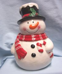 "COOKIE JAR: CuteSnowman Cookie Jar by OLD TIME Pottery Collectible Cookie Jar 11"" Tall"