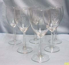 WINE GLASSES: Set of (6) Hexagon Stem Etched Wine Glasses - 'An Artful Taste of Life'