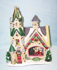 ENCHANTED FOREST CHRISTMAS - 2006 Village Lighted Porcelain Glass Window House