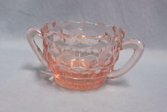 SUGAR BOWL: Vintage Pink Depression Glass Open Sugar Bowl Jeannette Cube Pattern from 1950s