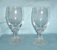 STEMWARE GLASSES: Set of (4) Crystal Stemware Glasses with Frosted Hexagon Shape Base