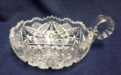 NAPPY BOWL: Vintage Imperial Clear Glass NUCUT Nappy Bowl Handled Bowl 1920's Scalloped