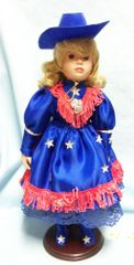 """DOLL: 14"""" Porcelain Collectible Cowgirl Doll Western Doll with Cowgirl Hat Doll Stand"""