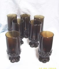ICE TEA GLASSES: Set (7) Gorgeous Madeira Smoke Brown Glasses Tiffin Franciscan