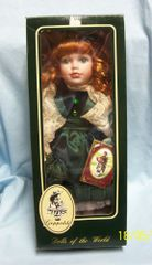 """COLLECTIBLE DOLLS: 16"""" Porcelain Irish Doll by Geppeddo from the Series - """"Dolls of the world"""" Name KELLY"""