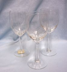 "LONG STEM GLASSES: Set (3) Long Stem 7 1/2"" Tall Glasses with Cris-Cross Pineapple Design"
