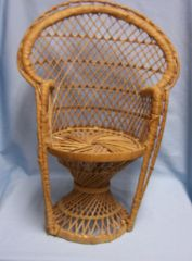 "DOLL FURNITURE: Wicker Style Doll Chair for Sitting Dolls or Bears 16 1/2"" high"