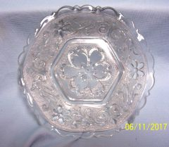 CANDY NUT DISH: Textured, Pressed Glass Floral Candy Nut Dish Pentagon shape with Irregular Scalloped Rim
