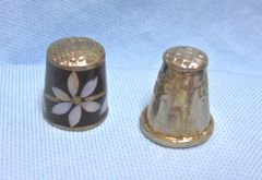 Thimbles: Pair Old Mexican Silver Metal Thimbles with Abalone Design/Leaf Design Set #2