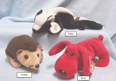 BEANIE BABIES: Ty Beanie Babies Collectible Cuddly Plush Animals; Prickles, Rover, Stinky