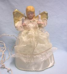 "TREE TOPPER: Christmas Tree Topper Christmas Angel in Ivory Gown/Candles Light Up 9 1/4"" Tall"