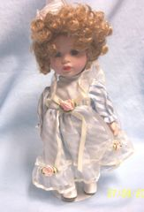 "DOLLS: Collectible 10"" Porcelain Doll Blue Eyes Blonde Hair in Cute Stripped Attire"